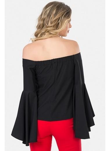 İroni Straplez Volanlı Bluz Siyah